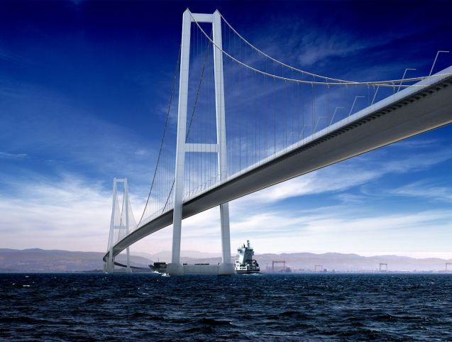 Izmit Bay Bridge: the world's longest suspension bridge? More later.