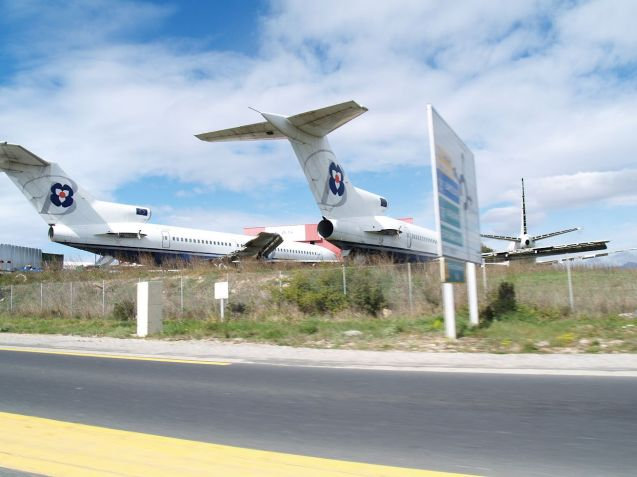 Finally, for all the excitement of roadside airports, there are fewer sights sadder than EAS Service's plane graveyard from the D117 at Perpigan-Rivesaltes in south west France.