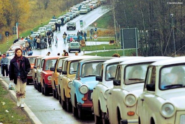 Twenty five years ago today: gaps start to open in the previous almost impregnable Iron Curtain - from Stettin (Sczcecin) in the Baltic to Trieste in the Adriatic - and immediately queues of Trabbies begin to form, many of them summarily abandoned on the other side. More later.