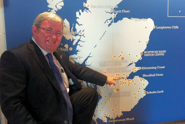Falkirk East MSP Angus MacDonald pointing to Grangemouth in his constituency, one of several Scottish ports mentioned in connection with the proposed UK-Norway ferry service. Others include Aberdeen and Rosyth. Photo via @Angus4FalkirkE.