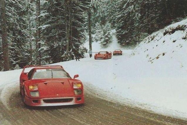 Random: priceless Ferraris in the snow, probably Col de Turini, south east France.