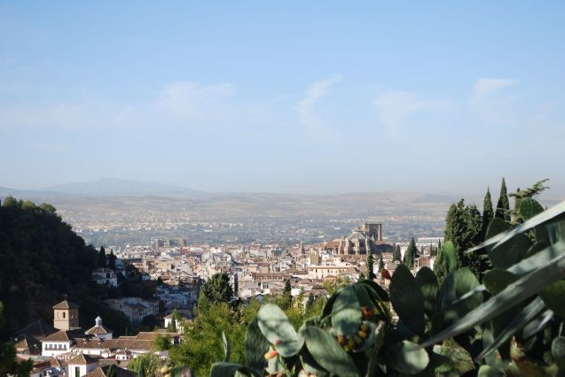 Granada. We weren't driving at this point but we would have been, up in the old town beside the stunning Alhambra Palace roads winding back into the mountains behind the city, awesome plain stretching out in front.