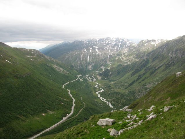 Grimsel Pass from Furka Pass, another road on The Loop, six amazing and very high mountain roads centered on Gotthard in south central Switzerland, all doable in one day.