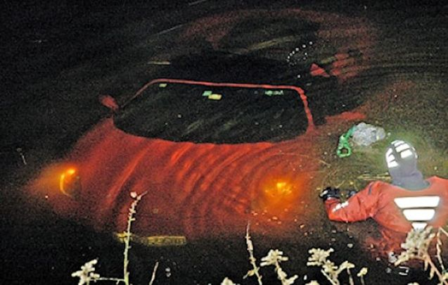 In total defiance of Italian cars' reputation for fragile electrics, especially when wet, the headlights of this Ferrari F430 Spider continue on full beam despite being submerged in a village fish pond. The lone driver, single car incident occurred on the B83 at Wernberg, near Villach, south central Austria last night. The 36 year old driver, an engineer from Croatia, managed to swim to safety. Photo HRW Villach.