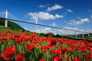 The Millau Viaduct, on the A75 between Clermont Ferrand and Beziers in southern France is ten years old today. The oaccssison will bemarked with a frework display at 18:00 toight. Unlikemost of the A75, the bridge is