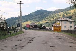 Romania's worst road. Sixty kilometres of patches and potholes. More later.
