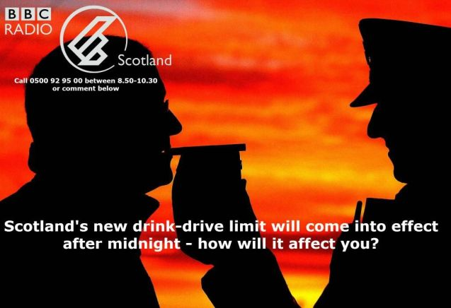 Scotland lowered its drink drive limit at midnight, to 50mg in every 100ml of blood from 80mg. For the average man that's less than a pint of regular beer or a large glass of wine; for women around half of that.