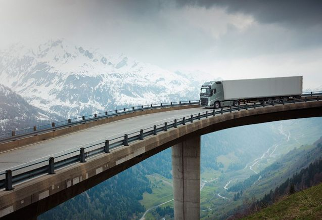 A Volvo FH heading down the south side of the H2 Gotthard pass in Switzerland, towards Airolo. Photo from VolvoTrucksBrandStories.com