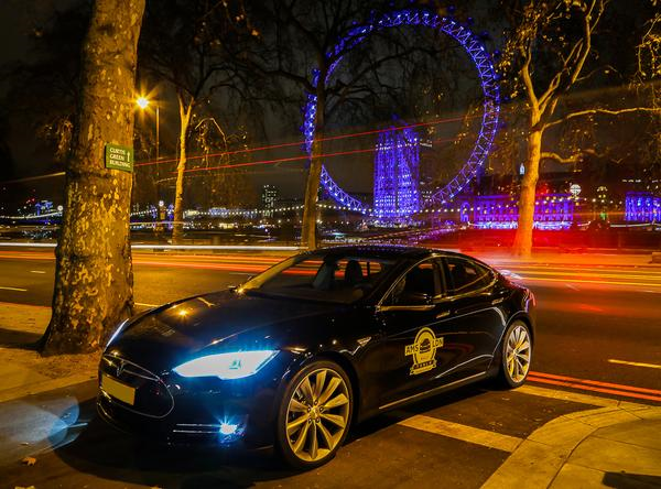 Tesla Model S in central London last night. Photo via @Tesla_Europe.