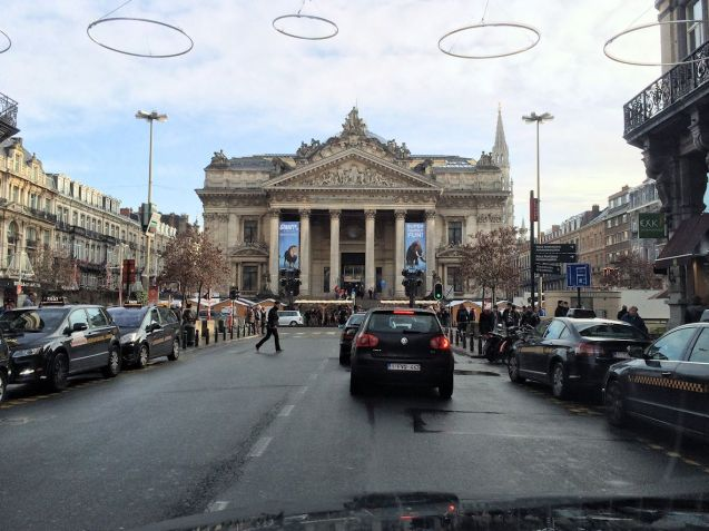 Brussels Stock Exchange, part of the area to pedestrianized from Monday. More later.