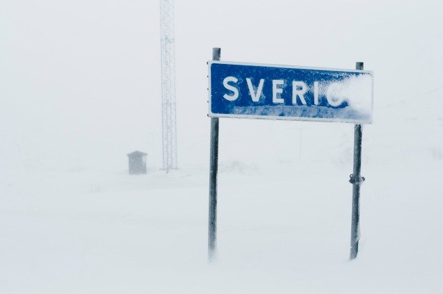 Riksgransen, the Swedish border 200km north of the arctic circle. More later.
