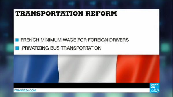 All truck drivers working in France must be paid at least the national minimum wage, currently €9.61 per hour. More later.