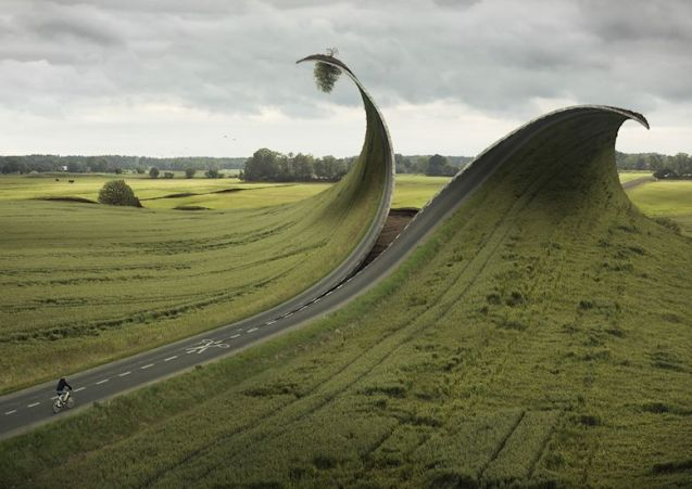 Cut & Fold: Swedish surrealist photographer Erik Johansson is noted for his twisted landscapes. Citing Dali and Magritte among his influences, Johansson only uses images taken by himself, mostly around his parent's home in Gotene central Sweden (not far from Beowulf's burial mound at Skalunda, incidentally, on the southern shore of Lake Vanern). See more at erikjohanssonphoto.com.