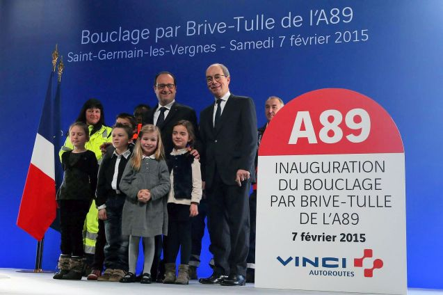 French president Francois Hollande and Pierre Coppey meet at the opening of the A89 on Saturday.