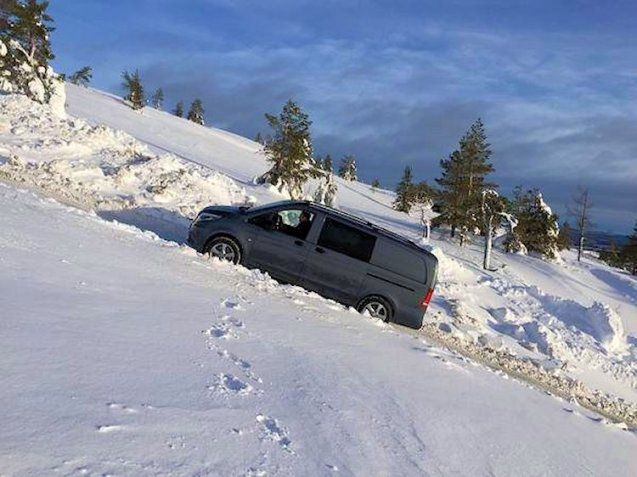 During winter testing in Sweden, Mercedes boats its new Vito 4x4 can go anywhere.