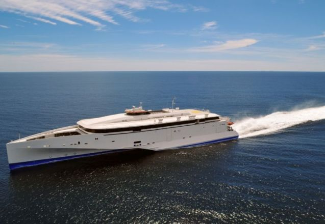 Condor Ferries is offering free upgrades to Ocean Plus on its brand new Condor Liberation fast ferry for National Ferry Fortnight, see below. Photo courtesy of Austal.