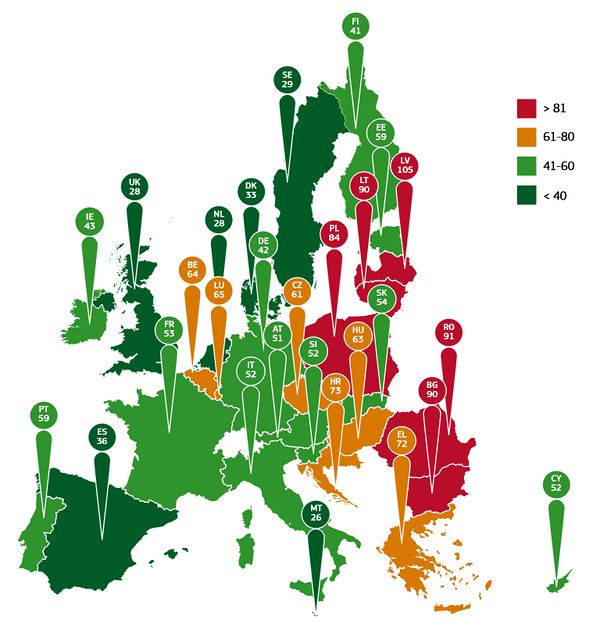 EU infographic of road deaths in 2014 showing clear east-west