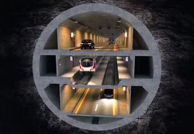 The world's first three decker tunnel will open in Istanbul in 2020. More later.