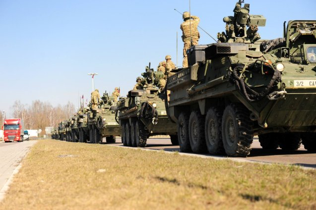 The 'Dragoon Ride' Sryker vehicles arrive back at the Rose Barracks, Vilseck, Bavaraia, yesterday after their high profile 1,100 mile road trip through eastern Europe. More later.