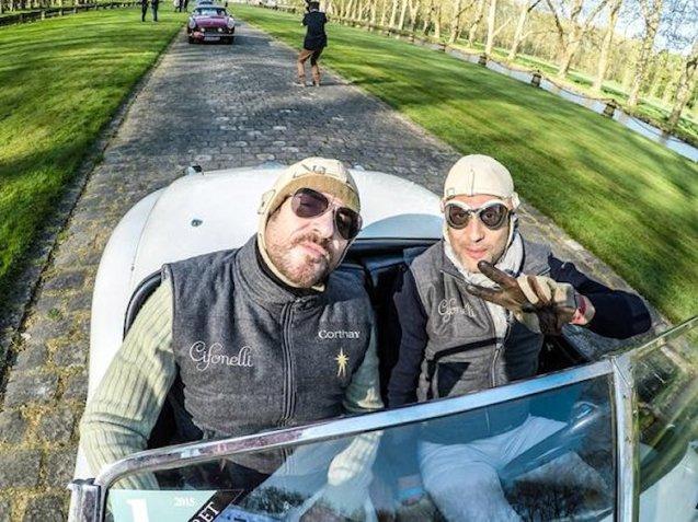 42: Francois Pourcher and Duran Duran singer Simon Le Bon in a 1950 Jaguar XK 120