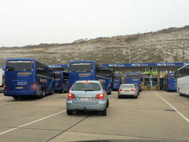 Check-in at Dover. Coach tour parties are exempt from new Exit Checks.
