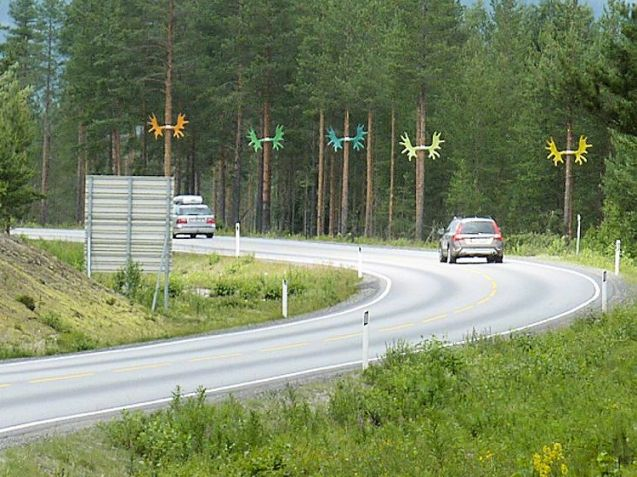 After research showed most drivers are oblivious to wildlife warning signs, the Norwegian Public Roads Administration decided to do something a little more eye catching to gain motorist's attention, hence the new dayglo antlers along the side of