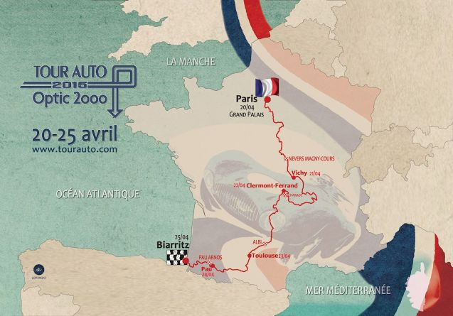 Tour Auto: the official start is the Chateau Courances just south of Paris. The route today is 499km between Paris and Vichy with one special stage at Magny Cours race track. More later.