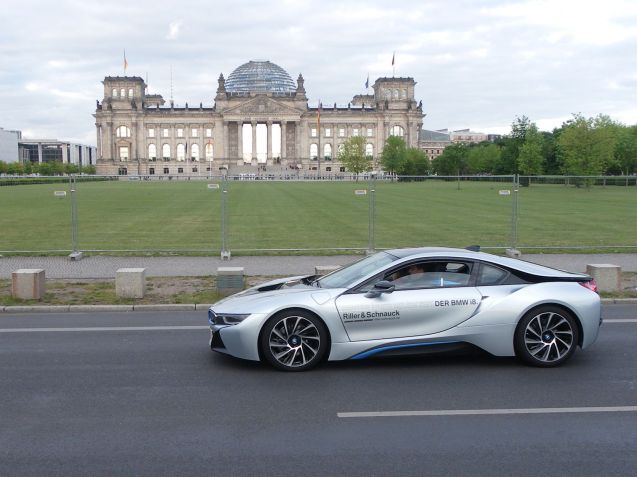 A BMW i8 passes the Berlin Reichstag during last week's all-electric 'eTour Europe'. Around 1,000 electric cars took part, on a circular tour starting and finishing in Munich via Basel, Luxembourg, Paris, Brussels, Amsterdam, Bremen, Berlin, Dresden, Prague, Bratislava, Budapest and Vienna. The total distance was 4200km at an impressive daily average of 450km. Taking part were not just standard production cars or hybrids but specialist conversions such as the Kreisel Electric Porsche Panamera 4S which boast a 300kmh top speed and 450km range. For more information see eTourEurope.eu