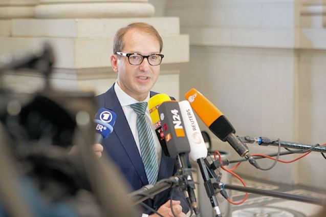 Transport minister Alexander Dobrindt faces journalists' questions after successfully negotiating the 'foreigner toll' through the Bundesrat upper house'. Photo BVMI