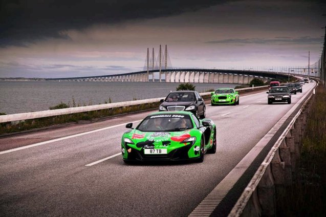 According to pan-Europe police federation TISPOL, a 'co-ordinated action' saw Dutch police confiscate twelve driving licences and issue €30,000 in fines to Gumball3000 competitors and followers during this year's event. However, it says there were no 'significant traffic offences' and that by paying on-the-spot fines most drivers were able to get their licences back straight away. The European leg of the high profile transatlantic rally took place between Stockholm and Amsterdam in the last week of May. Photo: competitors on the Oresund Link in Denmark, via Gumball3000 Facebook.