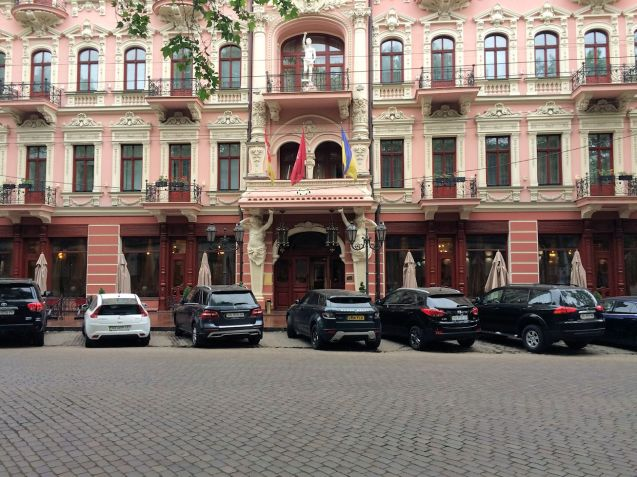 Secure parking outside the Bristol Hotel in Odessa.