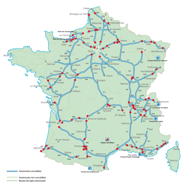 The tolled motorway network in France, marked in blue. Notable exceptions include the A16 from Calais to the Belgian border, the A25 Dunkirk-Lille, the roads around Paris, all the motorways in the north west, the A20 Vierzon-Limoges-Brive la Gaillarde and A75 Clermont Ferrand-Montpellier/Beziers (except the Millau Viaduct, €7.50). The A63 Bordeaux-Hendaye/Spain is in the midst of a major renovation; it costs €14.40 to drive the 200km (120 mile) route. Picture via Telepeagelibert.com