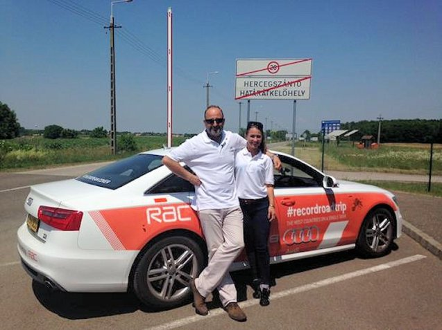 Record Road Trip: Andrew Frnkel and Rebecca Jackson in Hungary after 1155 miles. Photo @RecordRoadTrip