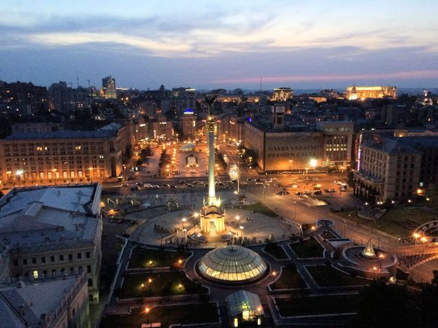 Overlooking Maidan Square in Kyiv (Kiev) from high up in the €45 per night Hotel Ukraine.