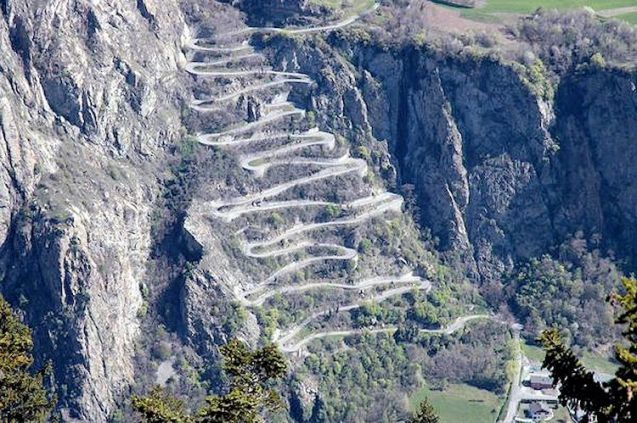 The Lacests du Montvernier, a mountain road in the French Alps used on today's Criterium du Dauphine bike race. It starts in Modane on the A43 and ends at saint Gervais Mont Blanc.