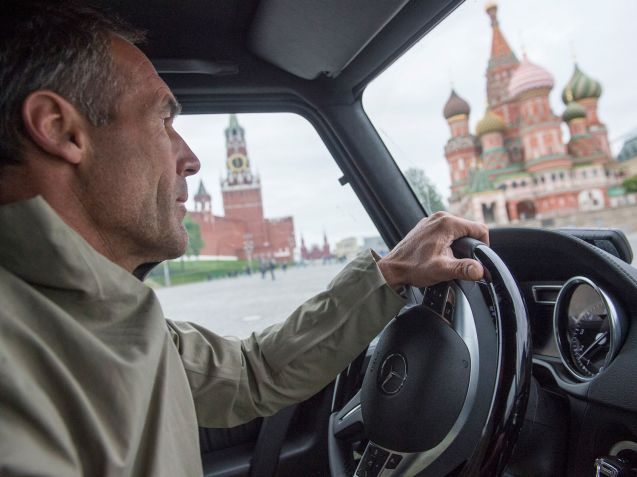 Adventurer Mike Horn drives a Mercedes G-Glass from Switzerland to the Himalayas via Moscow. More later.