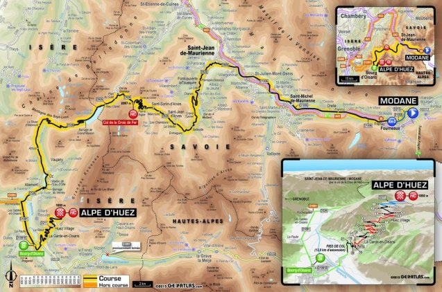 The landslide which cut the Grenoble-Briancon road at Lake Chambon in April has forced the Tour de France to rejig stage 20 – the final day in the Alps – on Saturday 25 July. Instead of Col de Galibier on the 100.5km ride between Modane and Alpe d'Huez, the tour will repeat Col de la Croix Fer from the previous stage, albeit in the opposite direction. The day will finish as originally planned on the '21 Bends' of Alpe d'Huez. The overall route, starting in Utrecht on 4 July, crosses the north of France from east to west until Sunday 12 July. It then restarts in the Pyrenees on Tuesday 14 July heading east to the Alps. See more here.