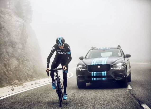 The Jaguar F-Pace prototype SUV made its public debut alongside the Team SKY on day one of the Tour de France in Utrecht on Saturday; unfortunately it won't accompany the riders in the Alps.