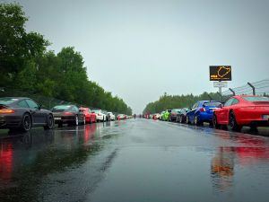 Sportcars, mainly Porche 911s it has to be said, queue into the Nurburgring at the weekend. Photo Nurburgring.de