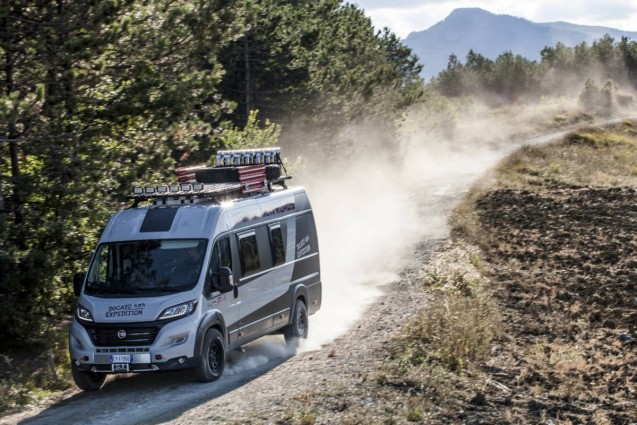 Fiat will show an off-road concept version of its Ducato motorhome at Caravan Salon, kicking off tomorrow in Dusseldorf. Called the Ducato 4x4 Expedition, it is based on the 6.45m model and comes with two bedrooms and four seats and is powered by a 150bhp 2.3 dirsel engine with 350Nm of torque. The black gloss and aluminium interior was built by Mobilerer Tecnoform while the mechanical conversion was carried out by Dangel. Such a camper is unlikely ever to go on sale – at least in such outlandish form – but Dangel is already capable of installing the four wheel drive system. Count on six weeks and up to €9000 to do the work.