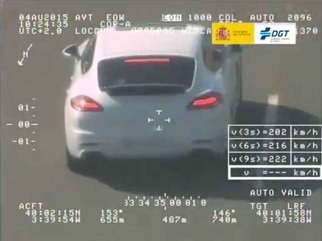 A Panamera driver was picked up by the Spanish police Pegasus helicopter near Toledo on Tuesday at a top speed of 218kmh (135mph).