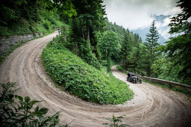 A (usually closed) section of the original Loibl Pass, as used on the 2013 centenary re-enactment of the 2013 Alpine Trial. Photo courtesy of Rolls-Royce Motor Cars.