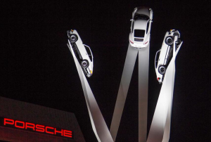 Porsche unveiled a new sculpture on Porscheplatz outside the factory and museum in Stuttgart last night, and with it the new facelifted version of the 911.