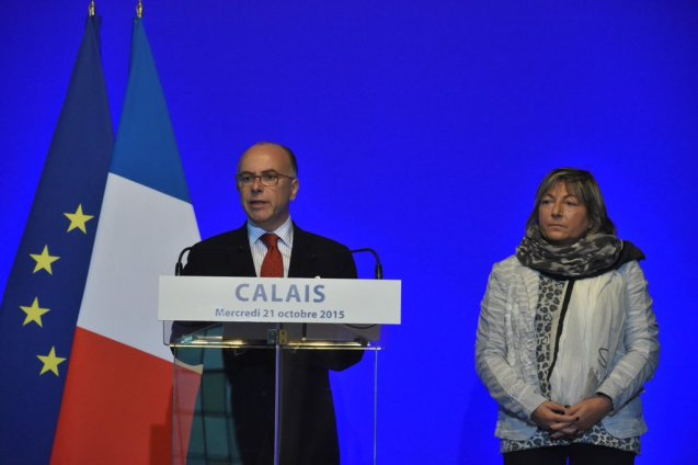 Interior Minister Bernard Cazeneuve and Calais mayor Natacha Bouchart.