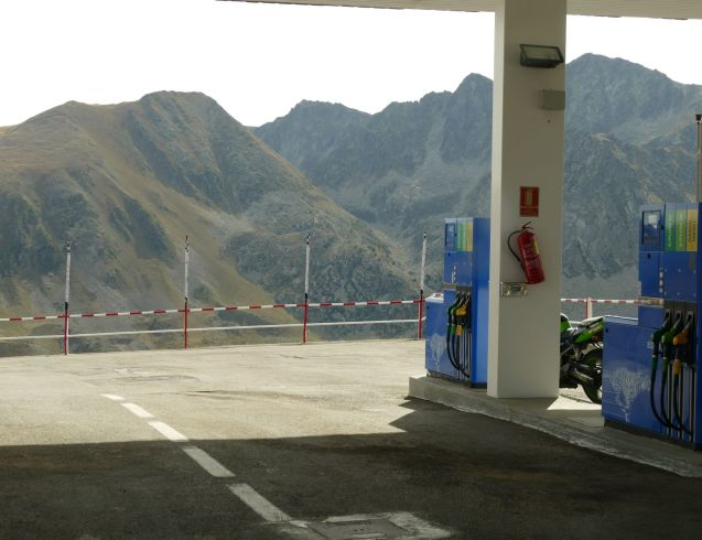 Cheap high: the filling station at the top of Port de Envilira, Andorra (