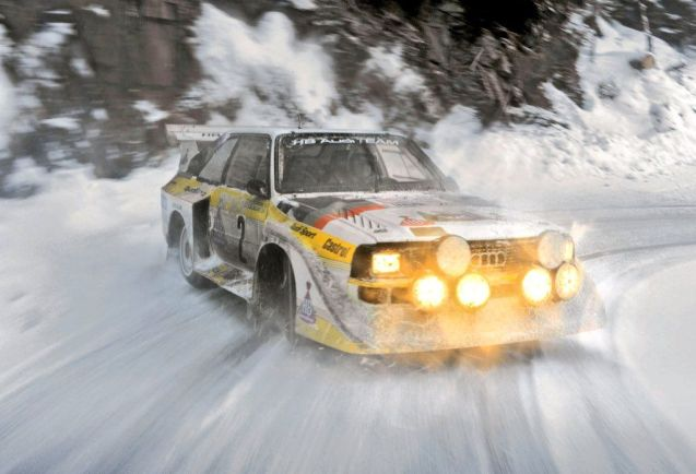 Snapshot from Audi of the 1985 Audi Sport quattro S1 rally car, with around 500bhp and 480Nm torque at 8000rpm. It weighed 1,090kg and got to 100kmh (62mph) in 3.1 seconds.