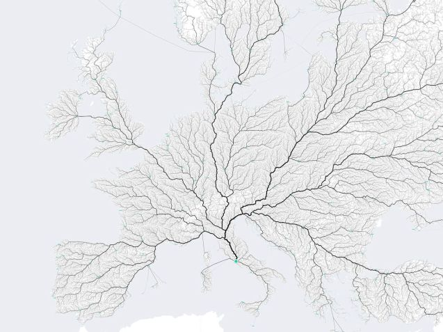 All roads lead to Rome as the old saying goes and three graphic designers from Stuttgart set out to prove it. Actually what they did was select almost 500,000 starting points from all over Europe and had a computer plot the routes to the Italian capital. The roads used the most came out darkest to create this leaf-like pattern. They also plotted similar maps of all the countries in Europe, and the states in America. They are all available to buy as posters too. See more at Moovel Lab.