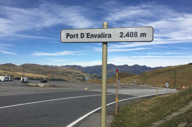 Port D'Envalira 2408m (7900ft), the highest paved road in the Pyrenees and easterly access road into Andorra. Bypassed by the tolled 3km Port D'Envalira Tunnel.