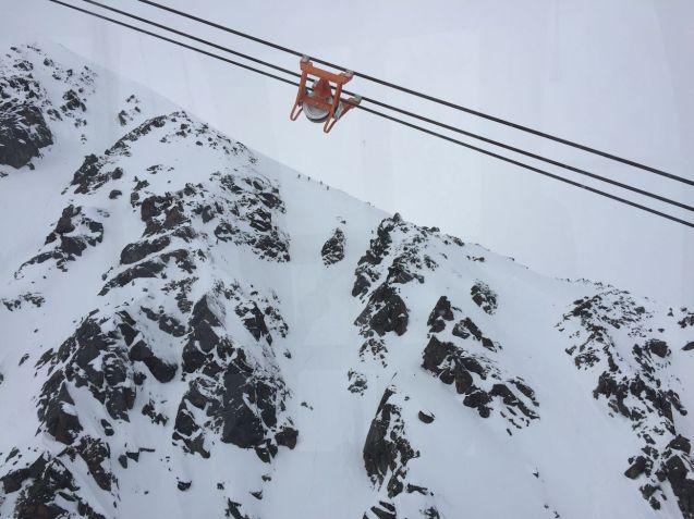 Nutty skiers enjoying Soelden off-piste.