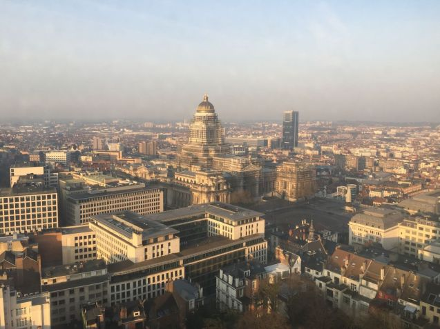 Brussels 'Palais de Justice', the biggest building built in the 19th century, from the 28th floor of The Hotel.